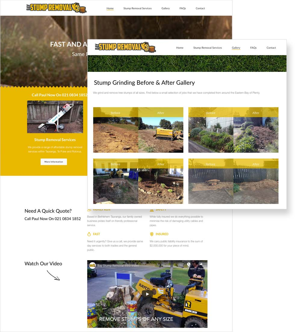 Bay Stump Removal Website Display