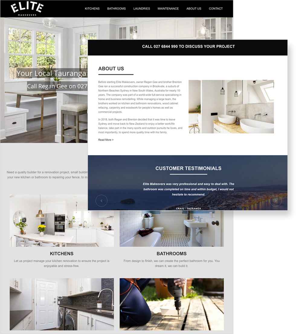 Elite Makeovers Website Design