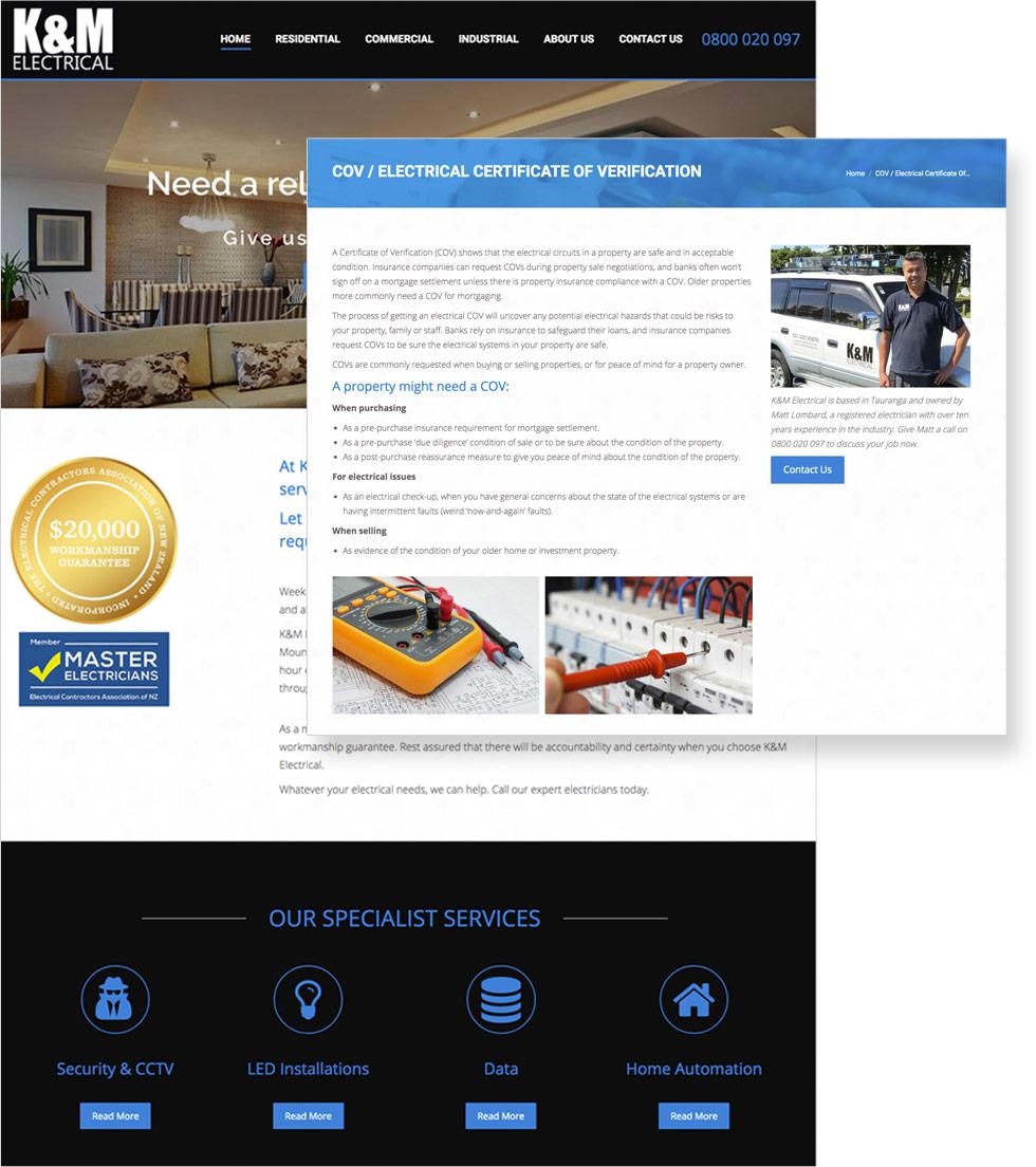 K&M Electrical Website Display